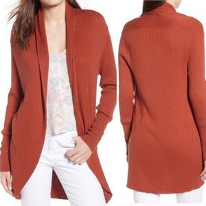 Leith burnt orange cardigan duster sweater S